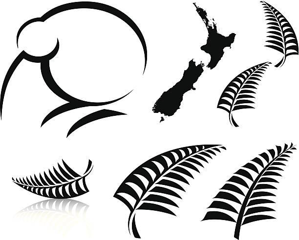 New Zealand icons Various New Zealand icons fern stock illustrations