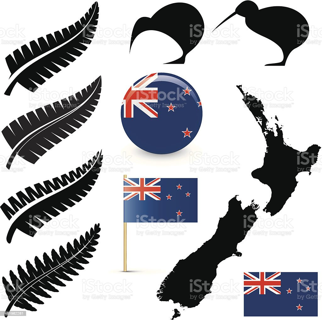 New Zealand icons vector art illustration