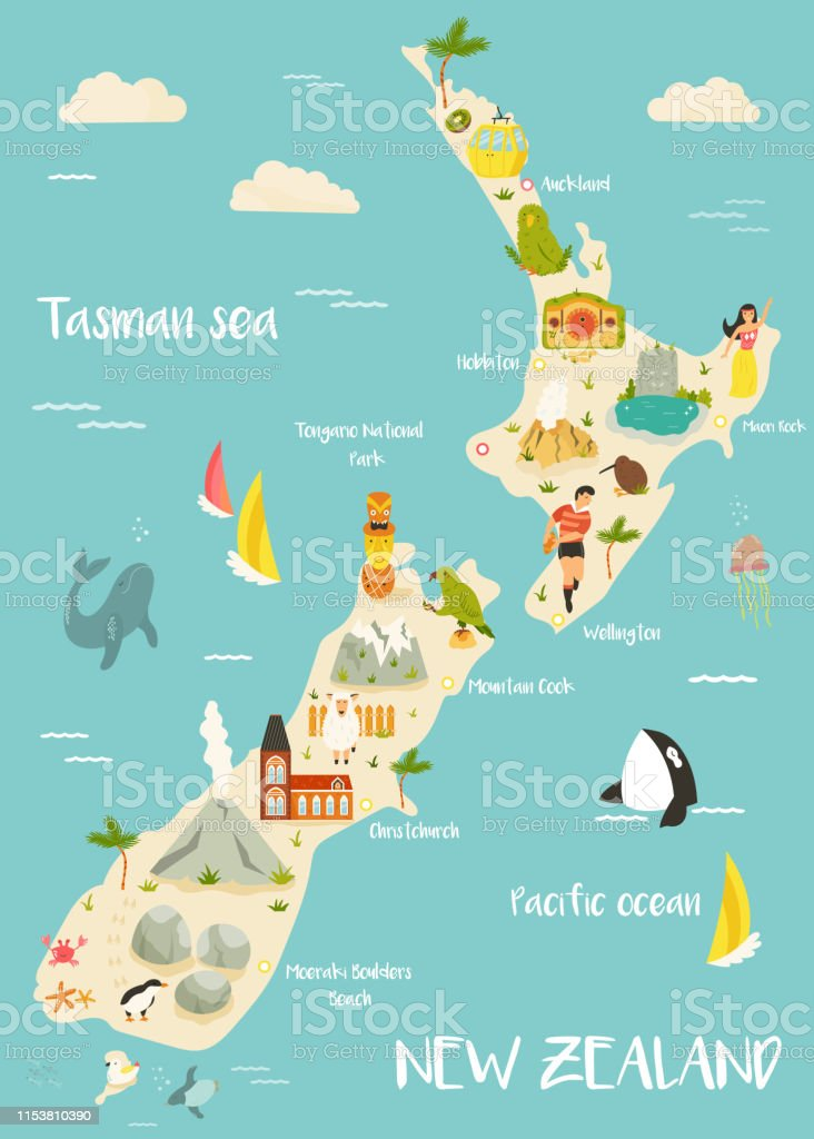 New Zealand Illustrated Map With Famous Landmarks Animals ... on illustrated wedding map, illustrated beach map, illustrated island map,