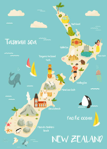 ilustrações de stock, clip art, desenhos animados e ícones de new zealand illustrated map with famous landmarks, animals, symbols. for prints, tourist posters, travel guides, festivals - wellington