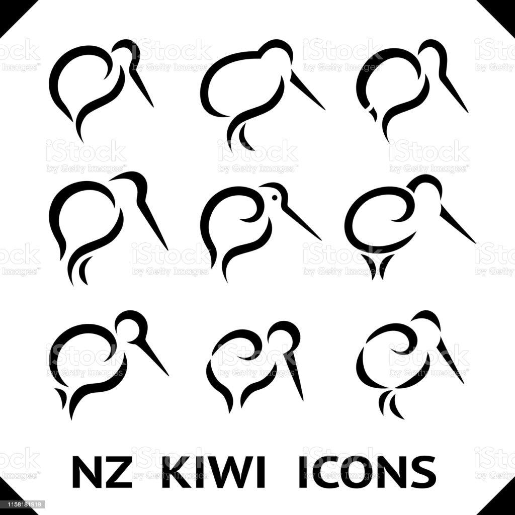 Maori Kiwi Tattoo: New Zealand Kiwi Bird Icons Or Tattoo With Maori Style