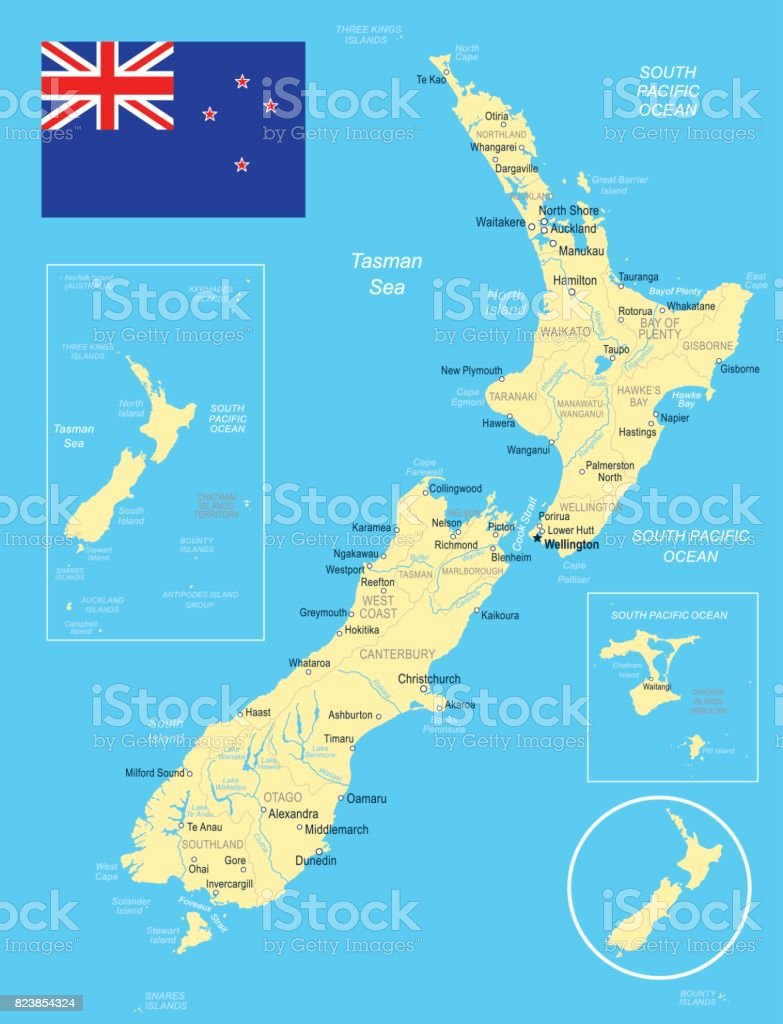 Taupo New Zealand Map.New Zealand Map And Flag Illustration Stock Illustration Download