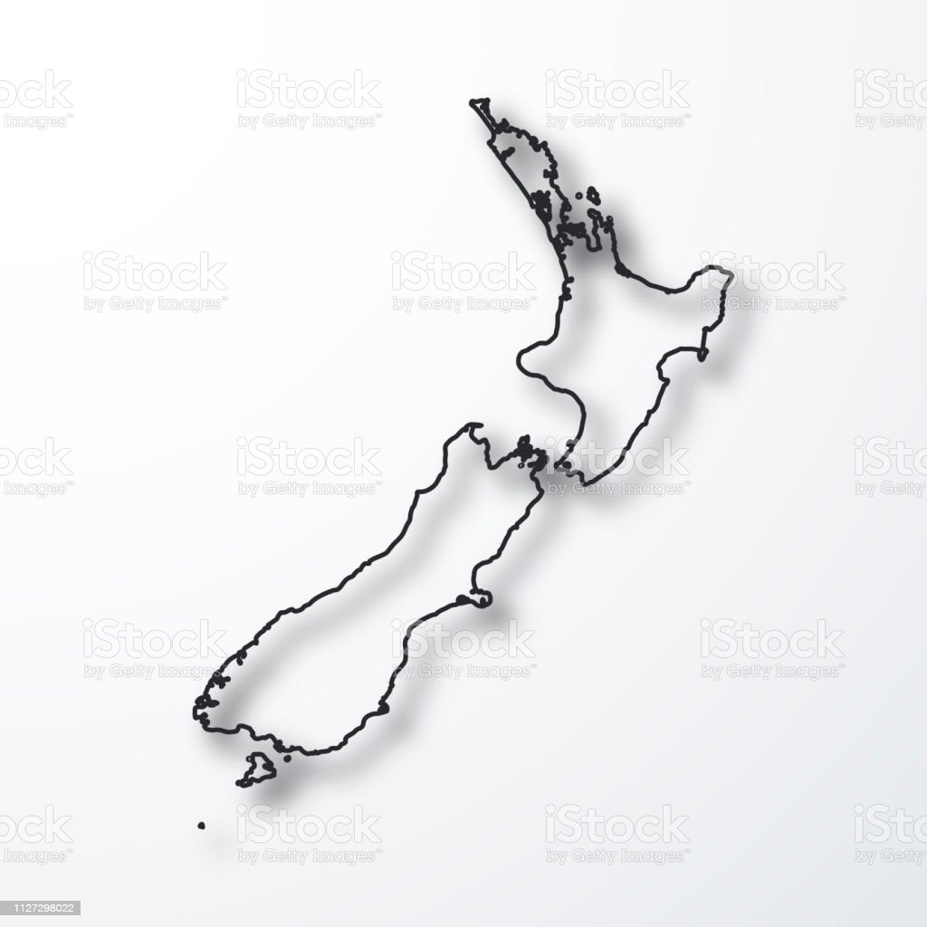 New Zealand Map Black Outline With Shadow On White Background Stock Illustration Download Image Now Istock