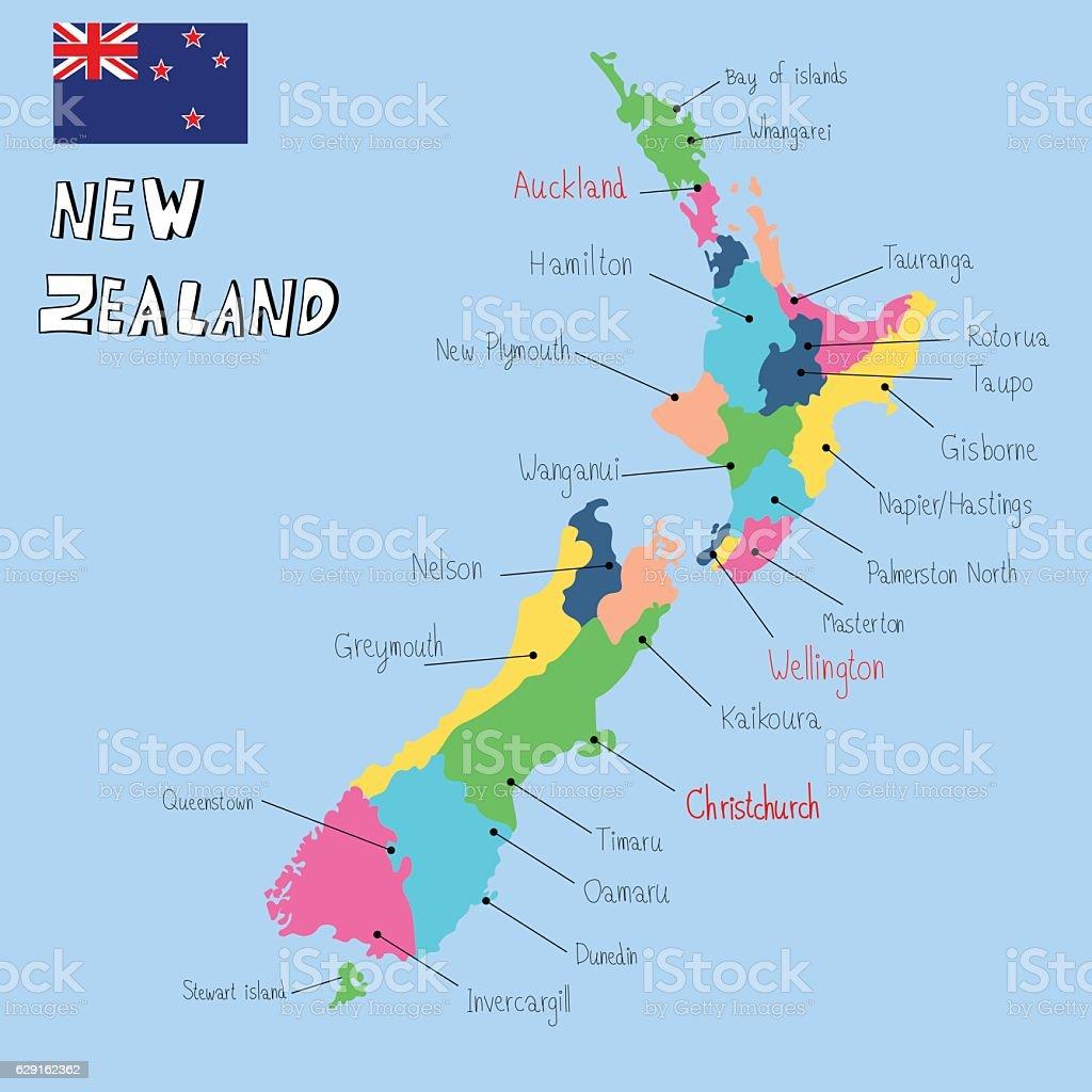 Cartina Geografica Della Nuova Zelanda.Nuova Zelanda Mappa Mano Disegnare Vettore Illustrazione Eps10