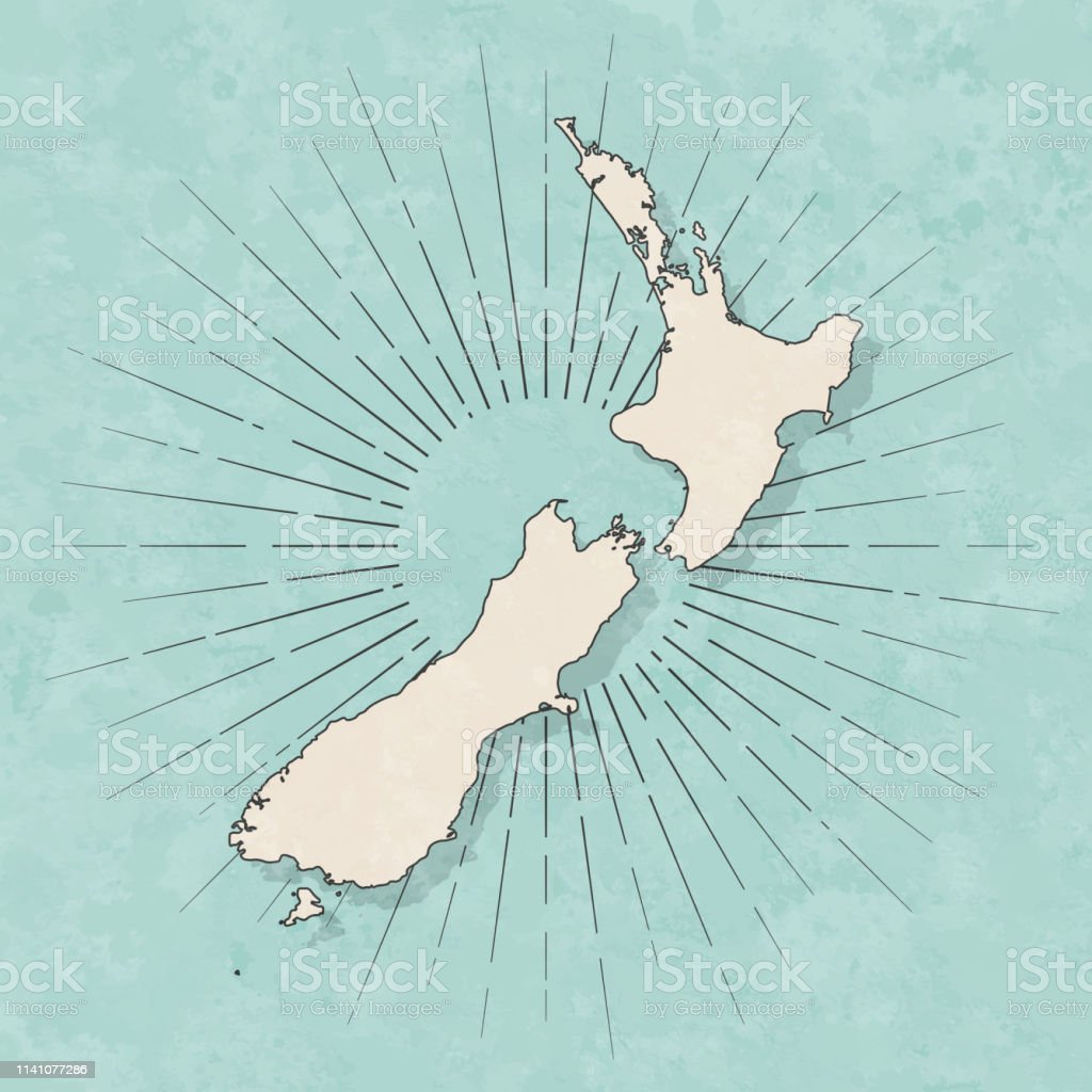 Map of New Zealand in a trendy vintage style. Beautiful retro...