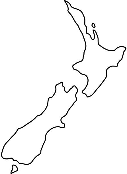 ilustrações de stock, clip art, desenhos animados e ícones de new zealand map of black contour curves of vector illustration - wellington