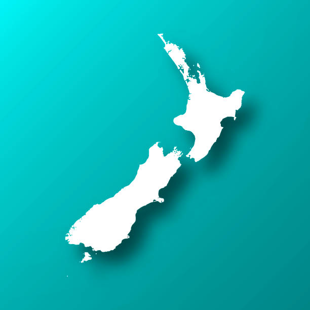 ilustrações de stock, clip art, desenhos animados e ícones de new zealand map on blue green background with shadow - wellington