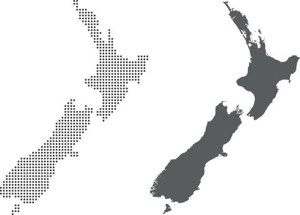 New Zealand map – artystyczna grafika wektorowa