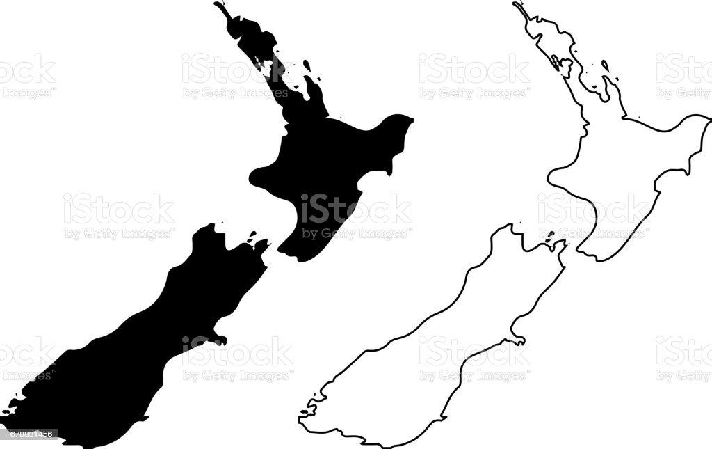 New Zealand map vector vector art illustration