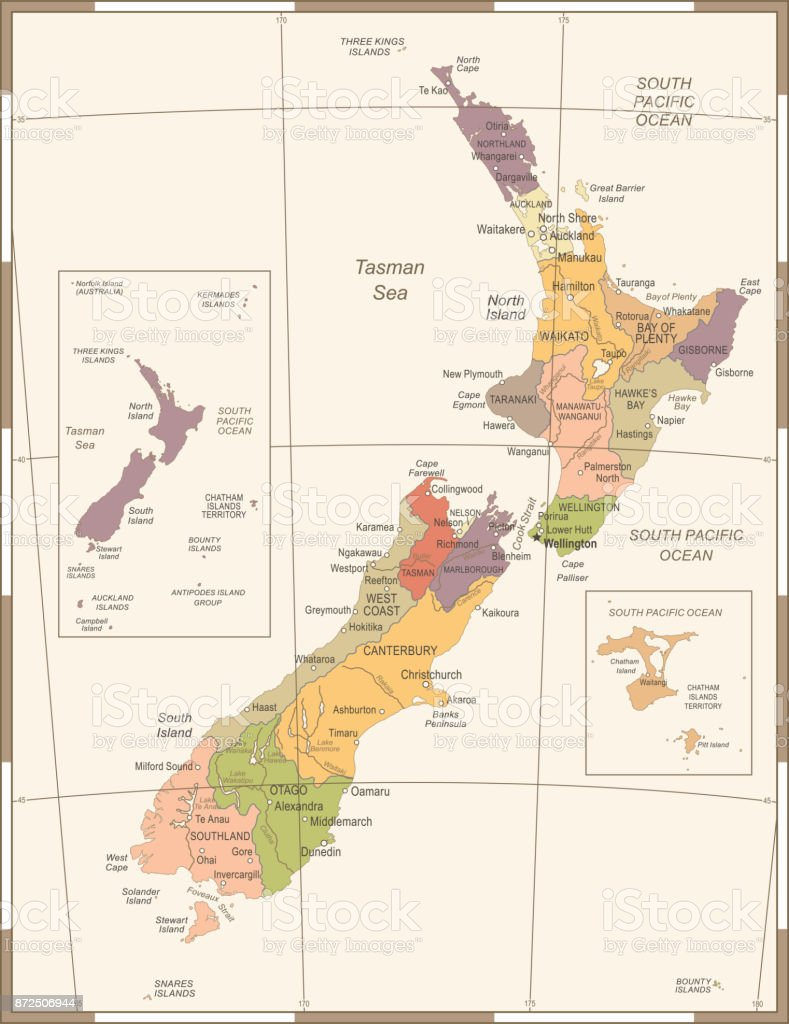 New Zealand Map Vintage Detailed Vector Illustration Stock Vector ...