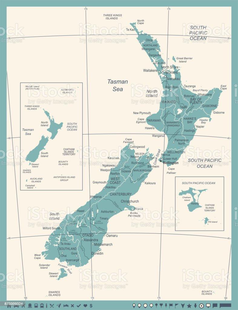 New Zealand Map Vintage Vector Illustration Stock Vector Art More