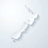 New Zealand map with paper cut effect on blank background
