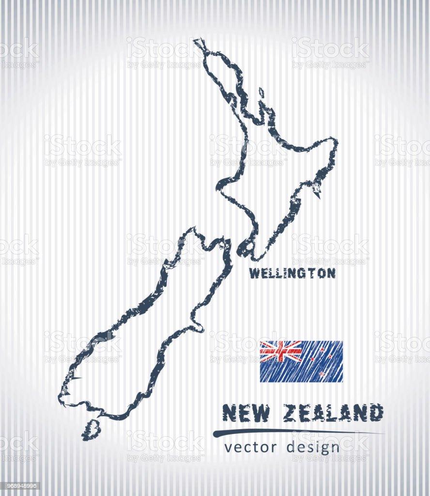 Carte Nouvelle Zelande Dessin.New Zealand National Vecteur Carte De Dessin Sur Fond Blanc