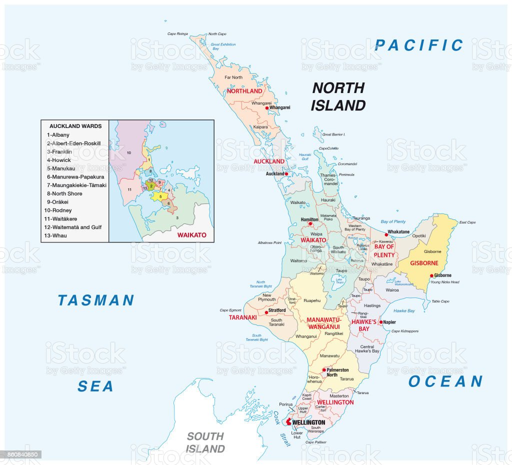 Political Map Of New Zealand.New Zealand North Island Administrative And Political Map Stock