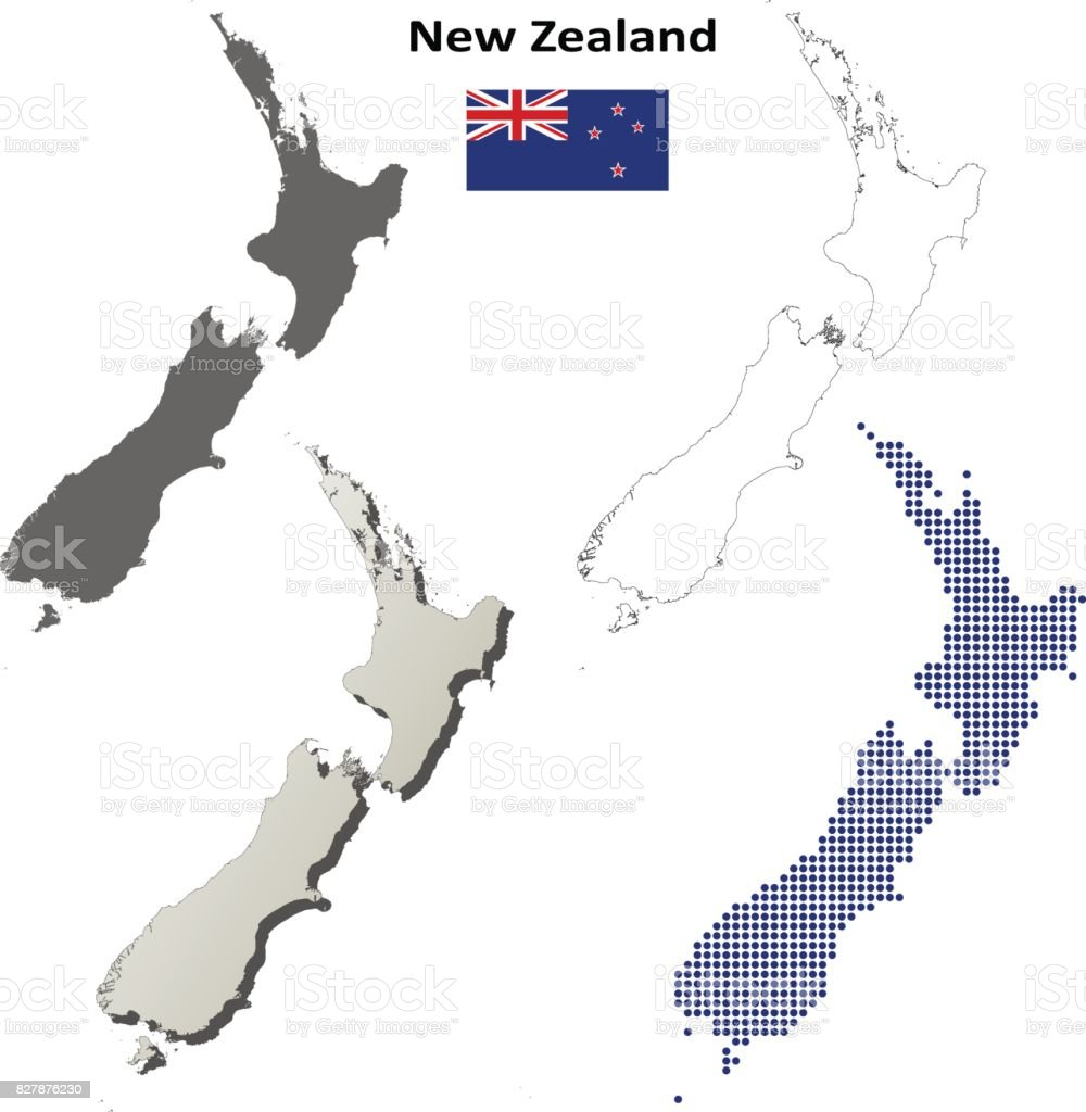 New Zealand Outline Map Set Stock Illustration Download Image Now Istock