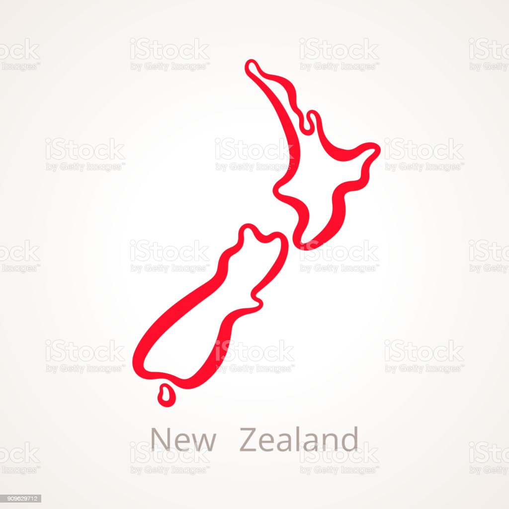 Line Drawing New Zealand Map : New zealand outline map stock vector art more images of