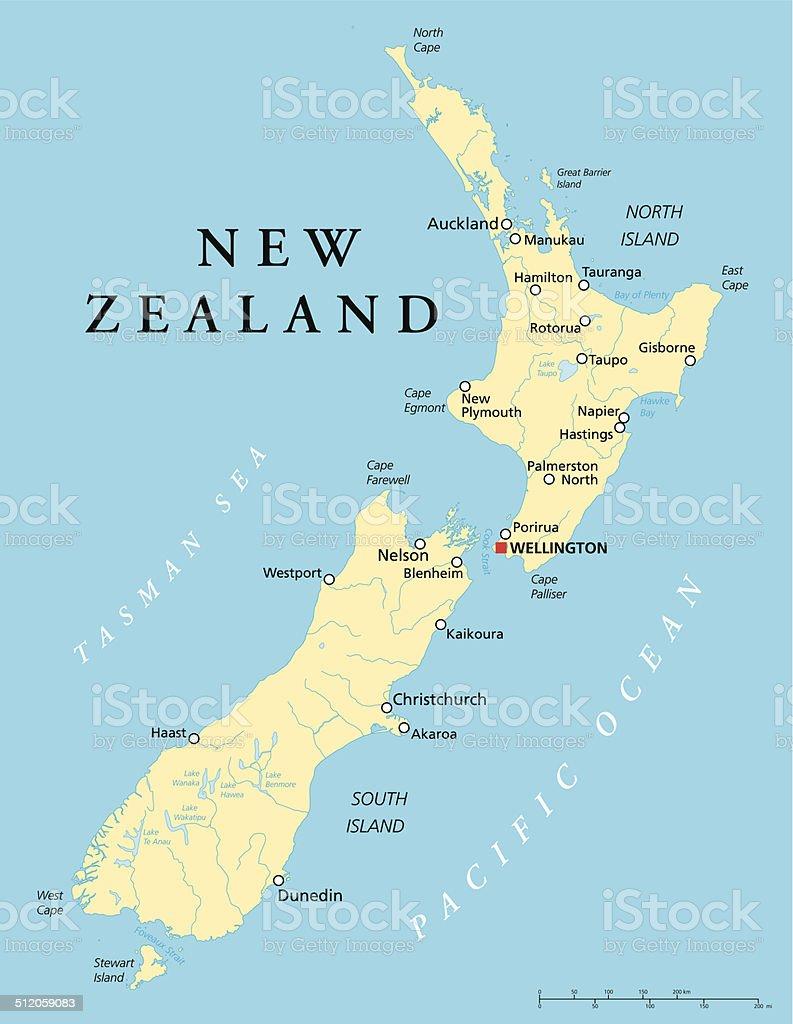 New Zealand Political Map vector art illustration