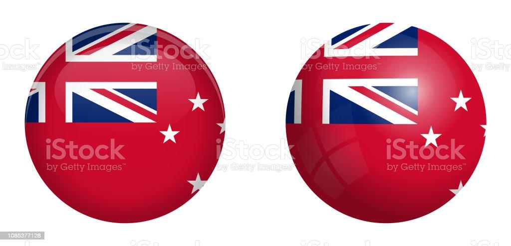 Bandeira de pavilhão vermelho de Nova Zelândia sob o botão 3d da cúpula e na brilhante esfera / bola.