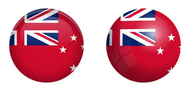 """ilustrações, clipart, desenhos animados e ícones de bandeira de pavilhão vermelho de nova zelândia sob o botão 3d da cúpula e na brilhante esfera / bola."""" r """"n - bandeira union jack"""