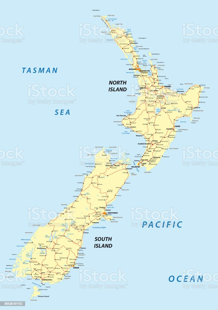 New Zealand North Island Road Map.New Zealand Road Map Stock Illustration Download Image Now