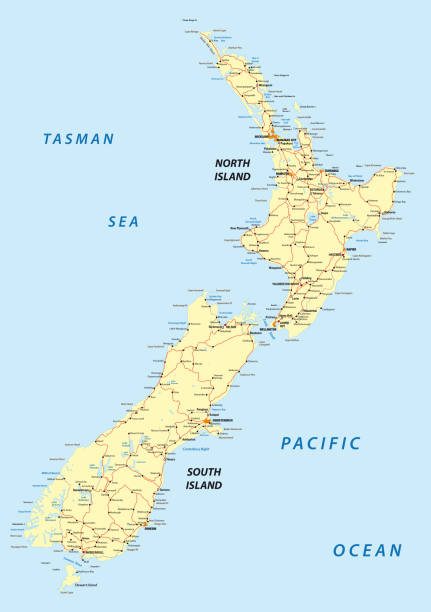 Map Of New Zealand North Island.Best South Island New Zealand Illustrations Royalty Free Vector