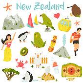 New Zealand set of symbols elements, landmarks animals
