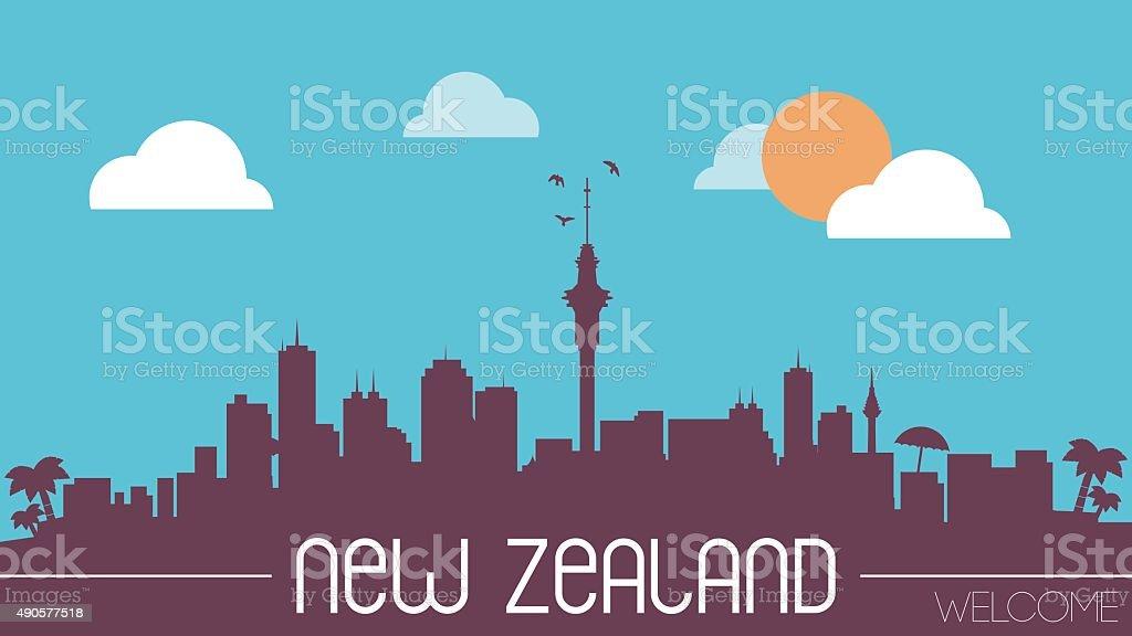 New Zealand skyline silhouette vector art illustration