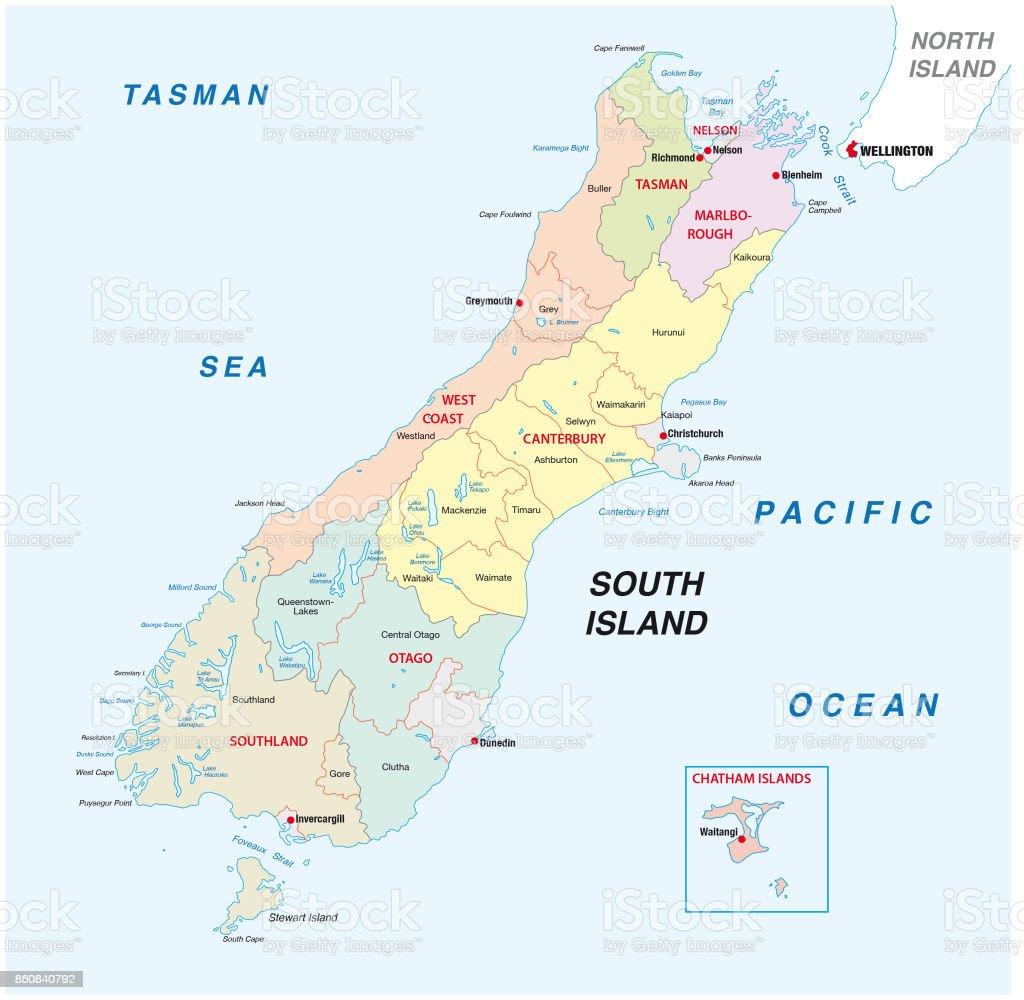 New Zealand South Island Administrative And Political Map Stock