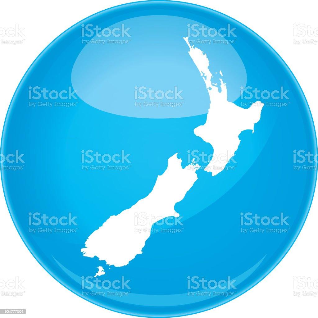 New Zealand Sphere Map vector art illustration
