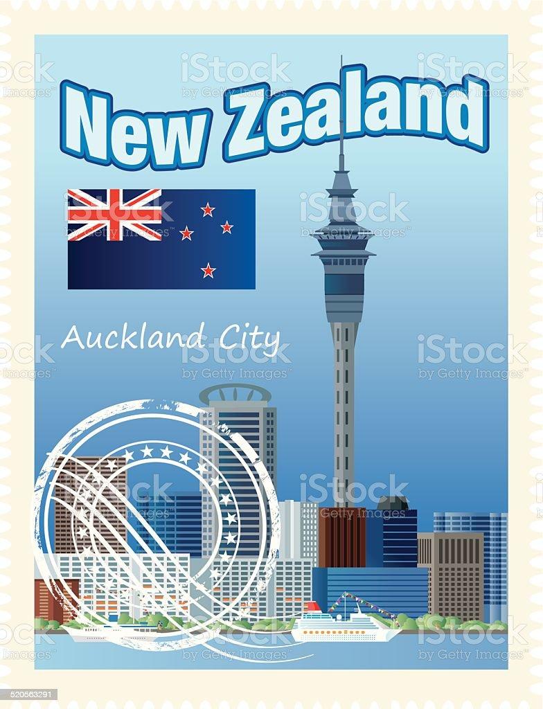 New Zealand Stamps vector art illustration