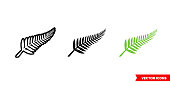 New zealand symbols icon of 3 types. Isolated vector sign symbol.