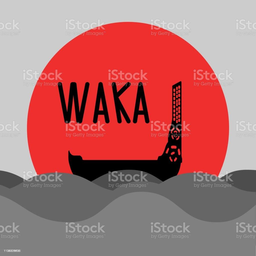 New Zealand islands maori etnic canoe. Waka traditional wooden boat...