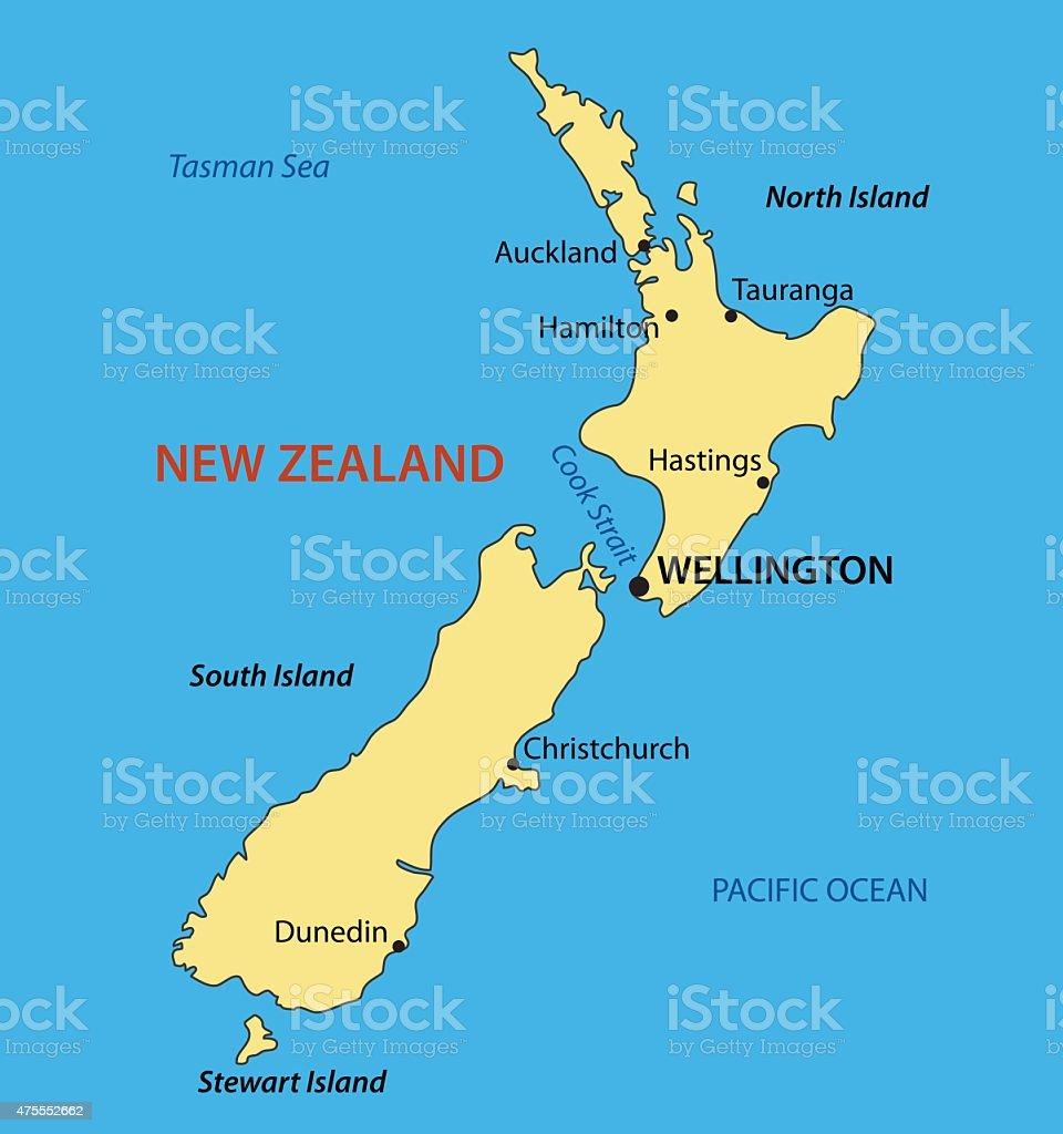 New Zealand - vector map vector art illustration