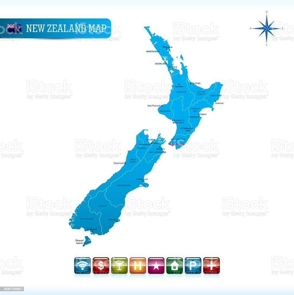 Wellington New Zealand Map.New Zealand Vector Map Stock Vector Art More Images Of