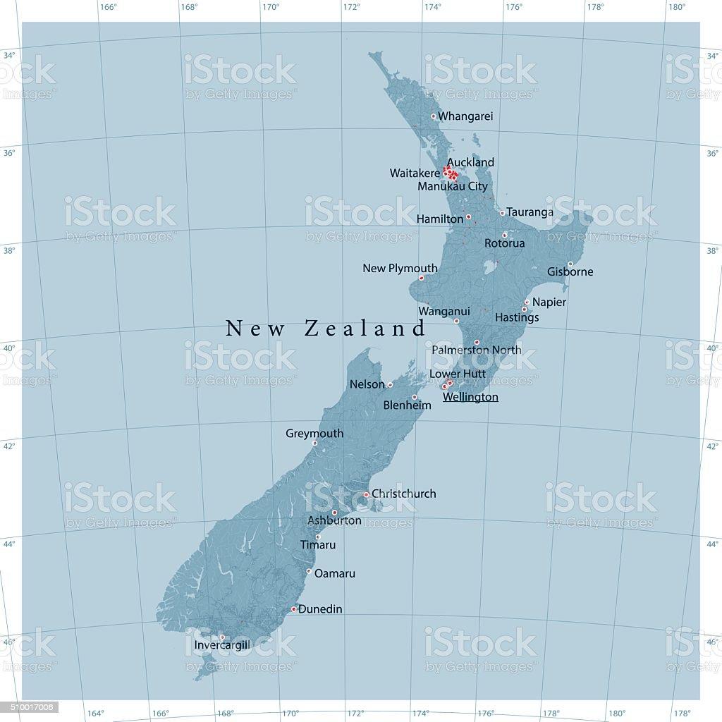 New Zealand Vector Road Map vector art illustration