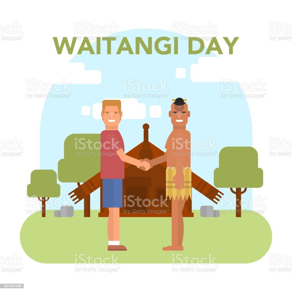 New Zealand Waitangi Day on the 6th of February. vector art illustration