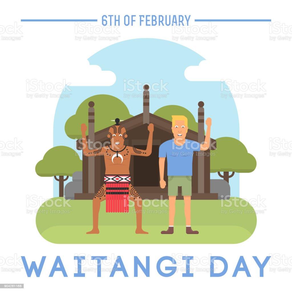 New Zealand Waitangi day topic. vector art illustration