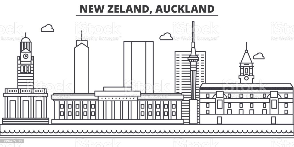 New Zeland, Auckland architecture line skyline illustration. Linear vector cityscape with famous landmarks, city sights, design icons. Landscape wtih editable strokes vector art illustration