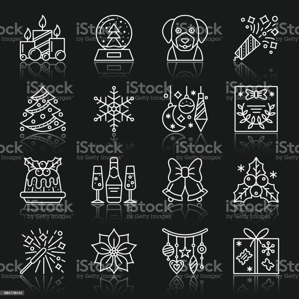 new_year_white_line_reflection vector art illustration