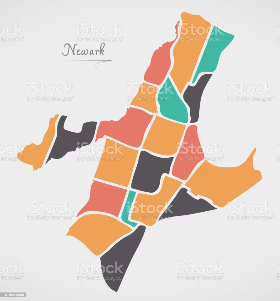 Newark New Jersey Map With Neighborhoods And Modern Round Shapes