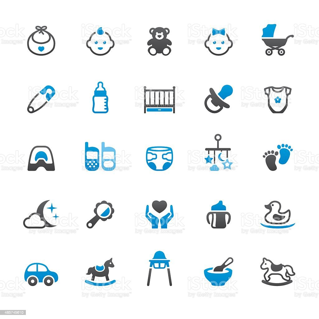Newborn and Baby Goods related vector icons vector art illustration
