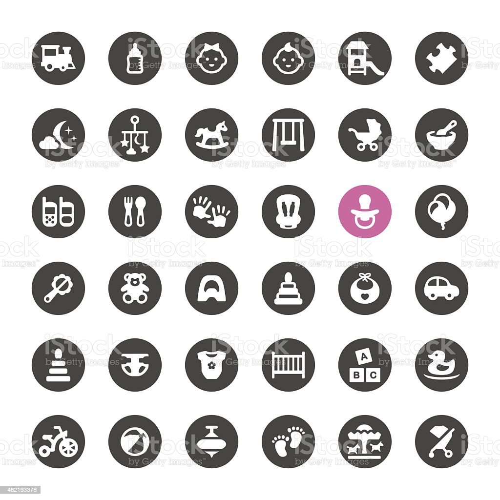 Newborn and Childhood vector icons vector art illustration