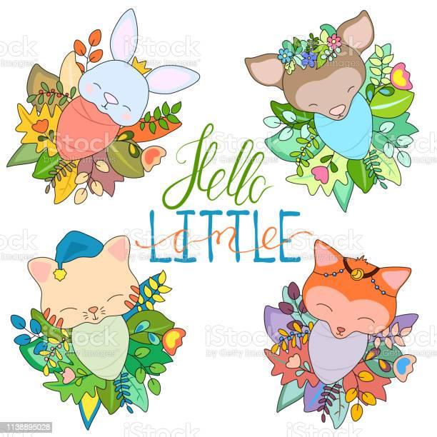 Newborn animal babies in seasonal floral wreath vector id1138895028?b=1&k=6&m=1138895028&s=612x612&h=wlvcy4p9vbphndxma4q35ft ci odf1knygejligdjk=