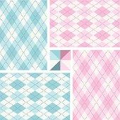 Pink and blue argyle seamless pattern set