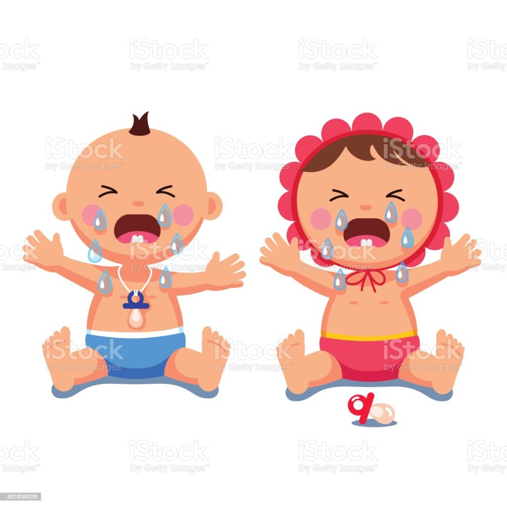 Newborn babies girl, boy crying shedding big tears vector art illustration