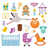 New-born, baby, baby shower items, design elements vector set.