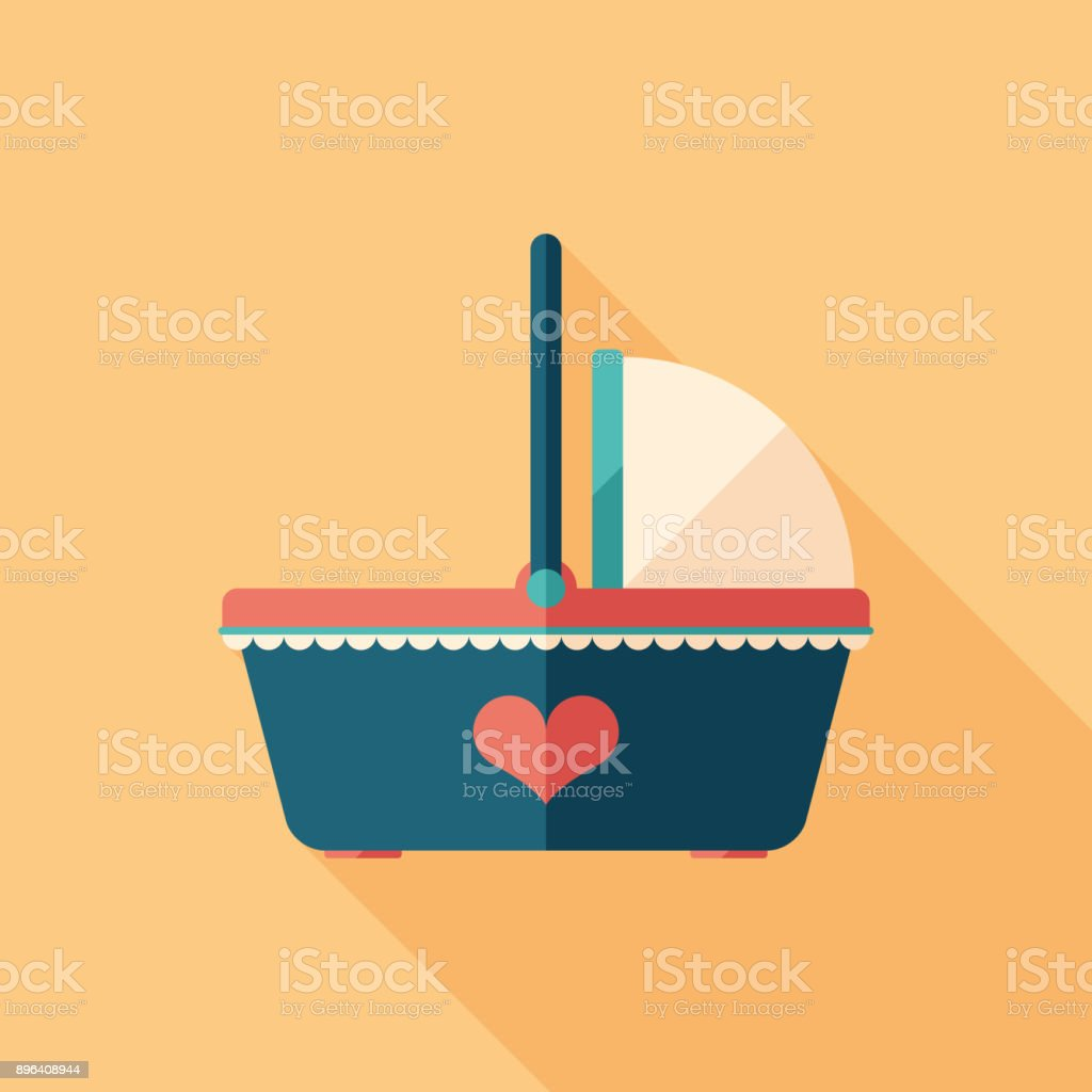 Newborn baby basket flat square icon with long shadows. vector art illustration