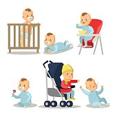Newborn Baby Boy Cartoons Set