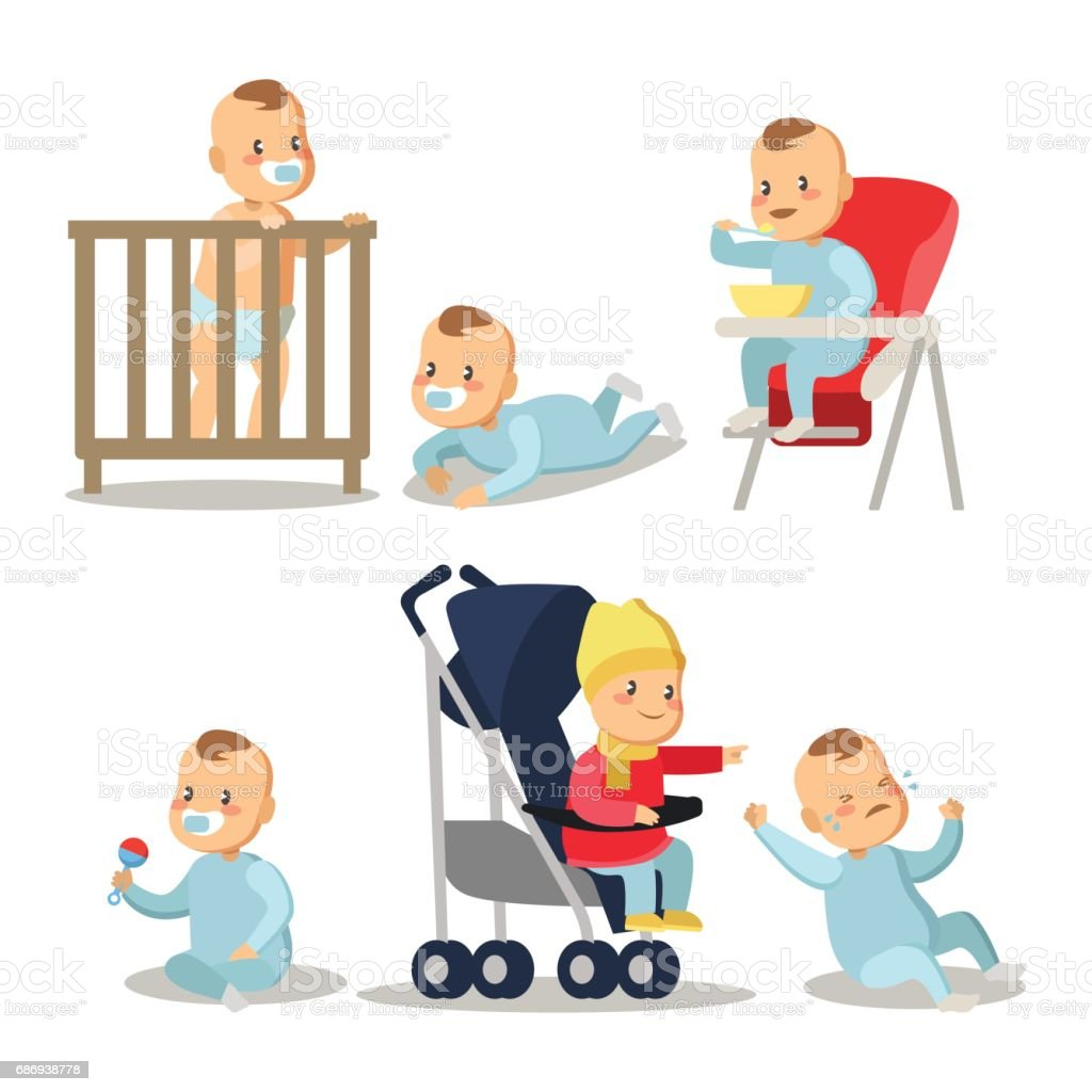 Newborn Baby Boy Cartoons Set vector art illustration