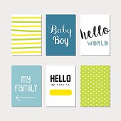 Newborn baby boy journaling cards set